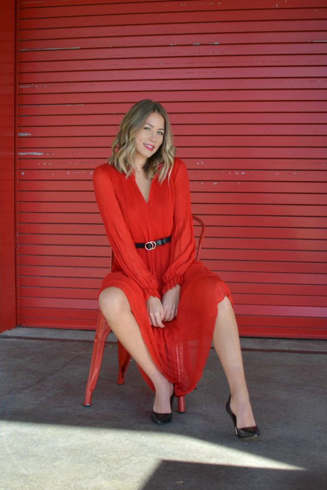 h&m red holiday dress